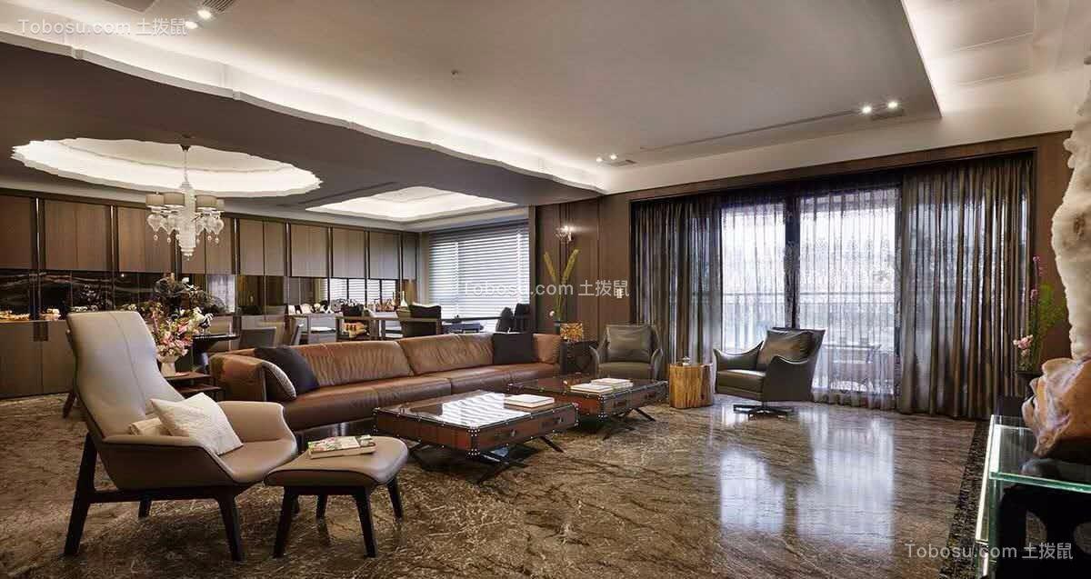 美式风格150平米三室两厅新房装修效果图