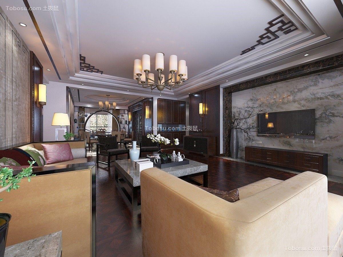 客厅白色吊顶中式风格装饰效果图