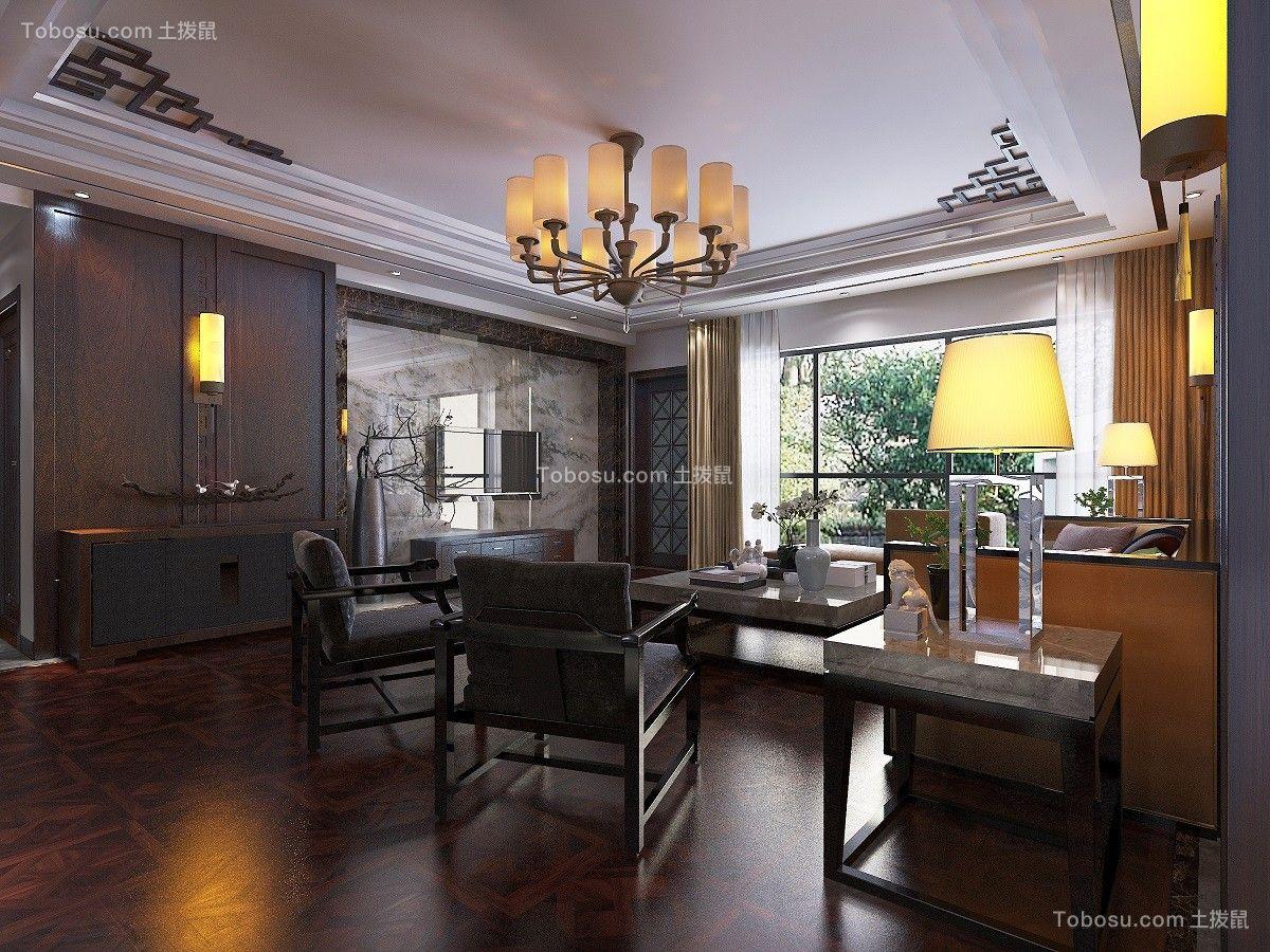 客厅灰色茶几中式风格装修图片