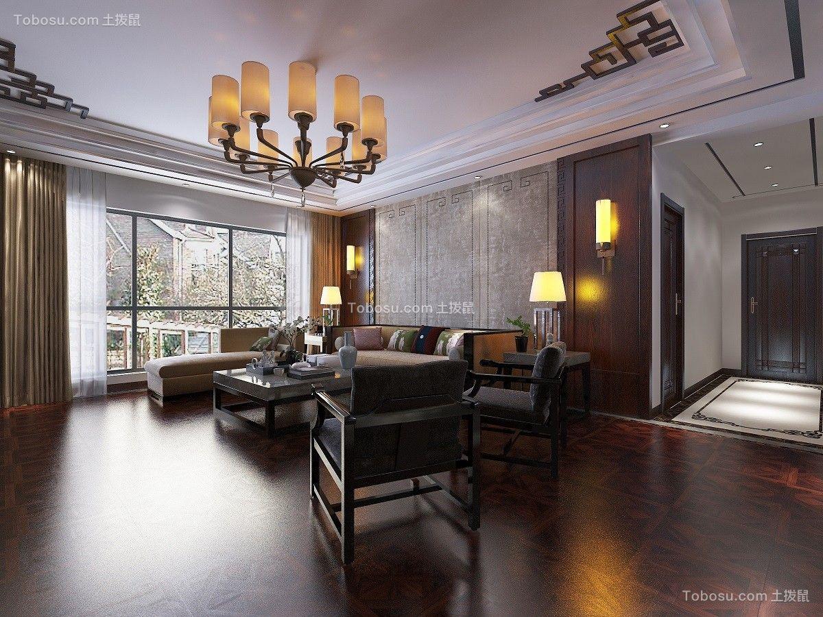 客厅咖啡色窗帘中式风格装饰图片