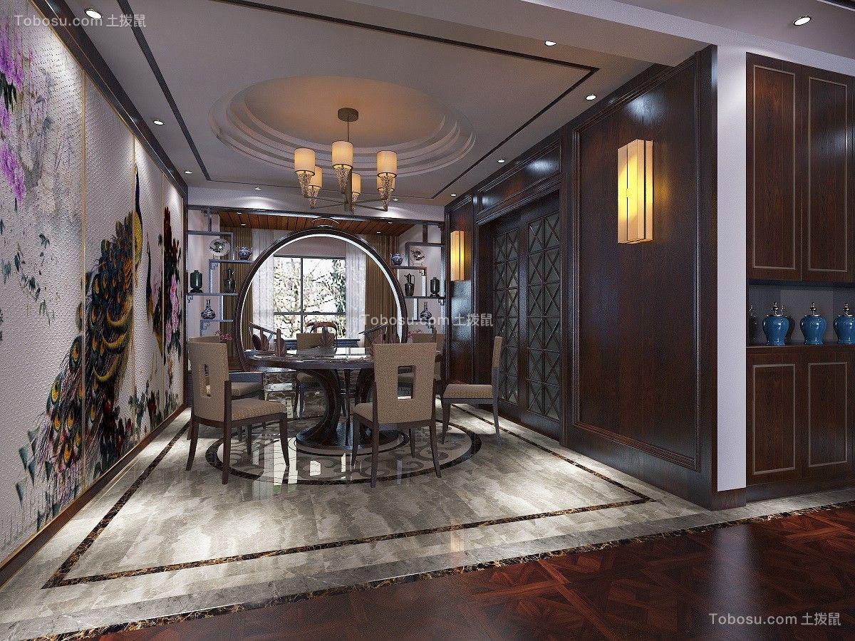 餐厅灰色地砖中式风格装潢图片