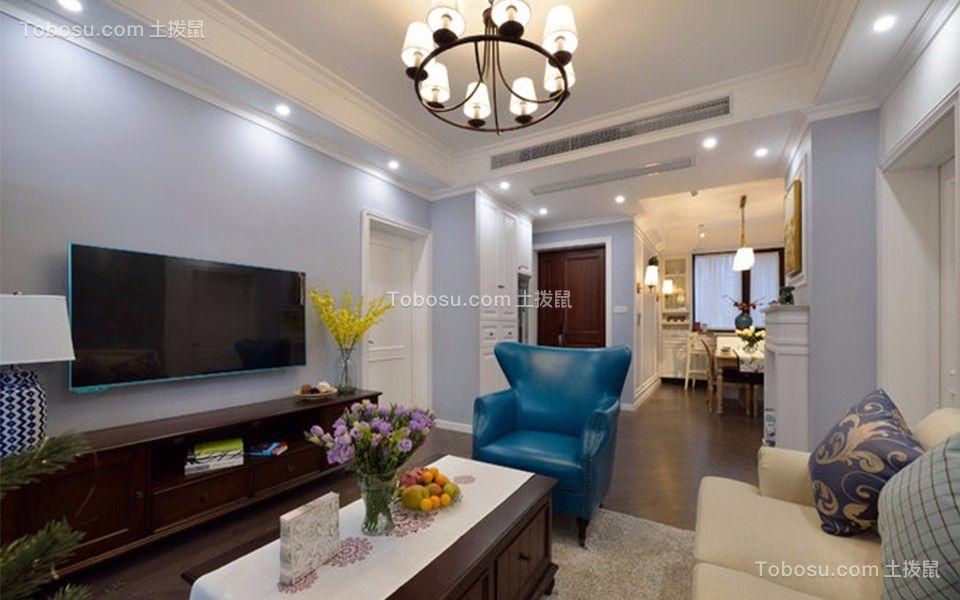 美式风格108平米三室两厅新房装修效果图