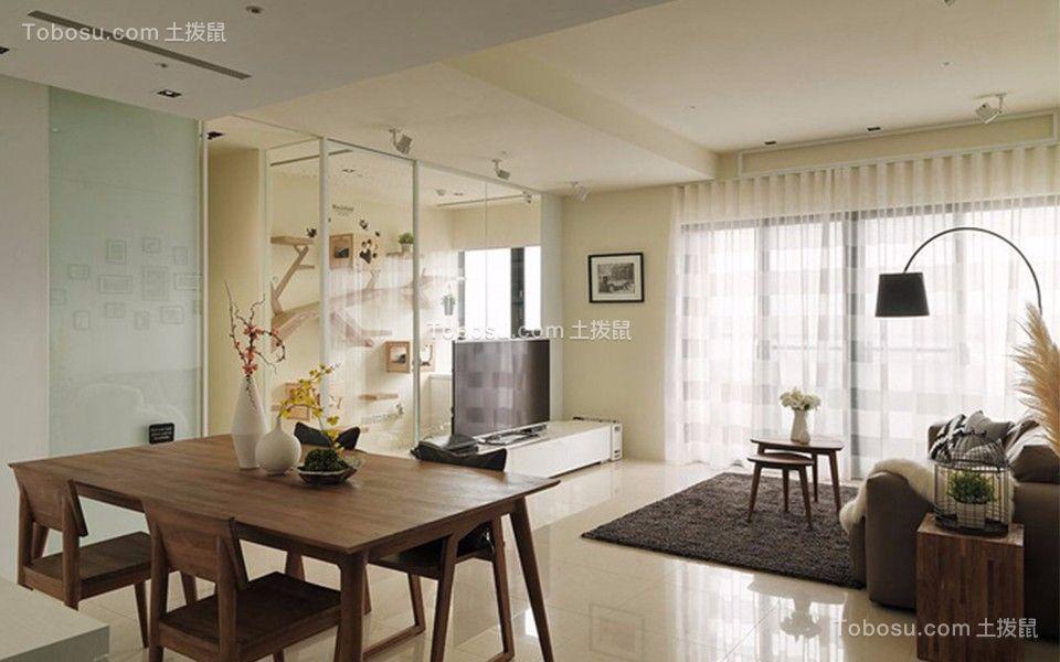 8万预算92平米三室两厅装修效果图