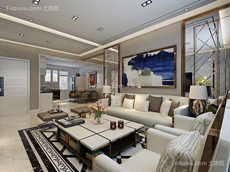 旭城公园府邸现代风格93平三居室装修效果图