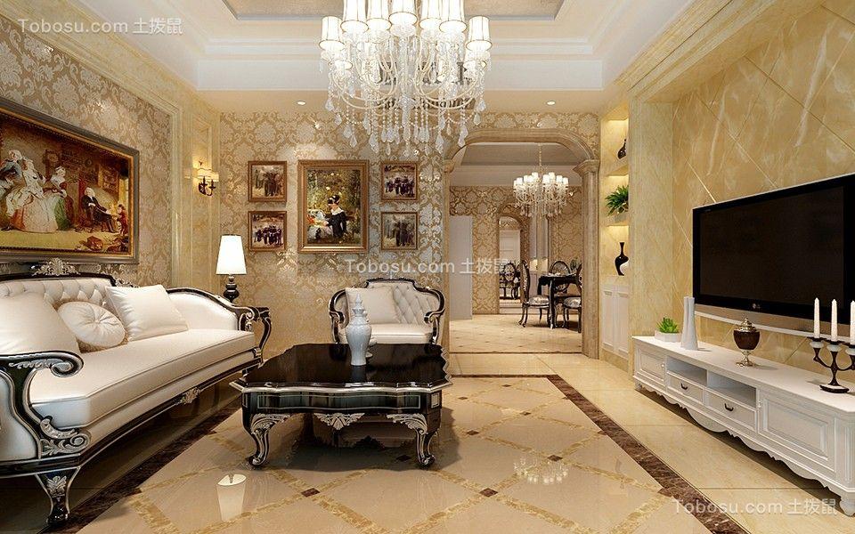 18.8万预算110平米三室两厅装修效果图