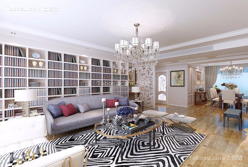 客厅白色书架欧式风格装修设计图片