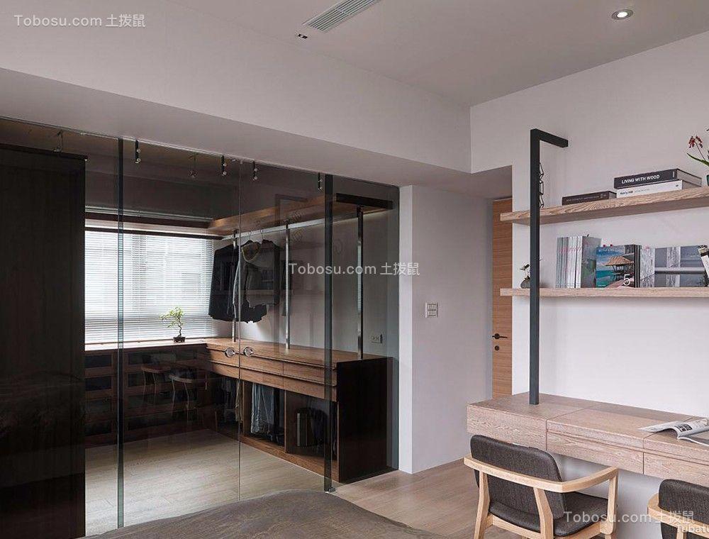卧室咖啡色书桌日式风格效果图