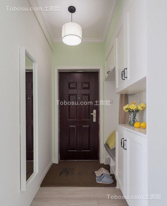 玄关白色鞋柜美式风格装潢设计图片