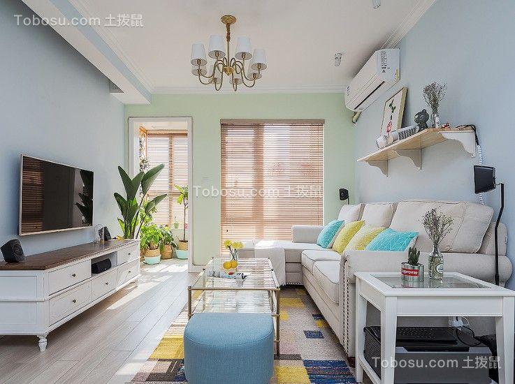 客厅白色电视柜美式风格装修效果图
