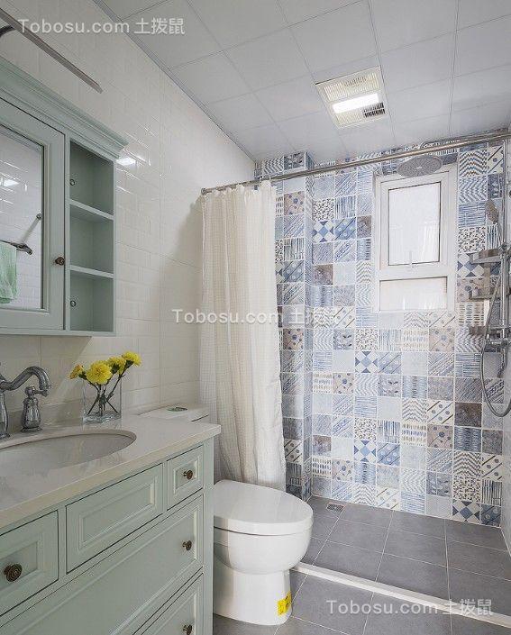 卫生间绿色洗漱台美式风格装修图片