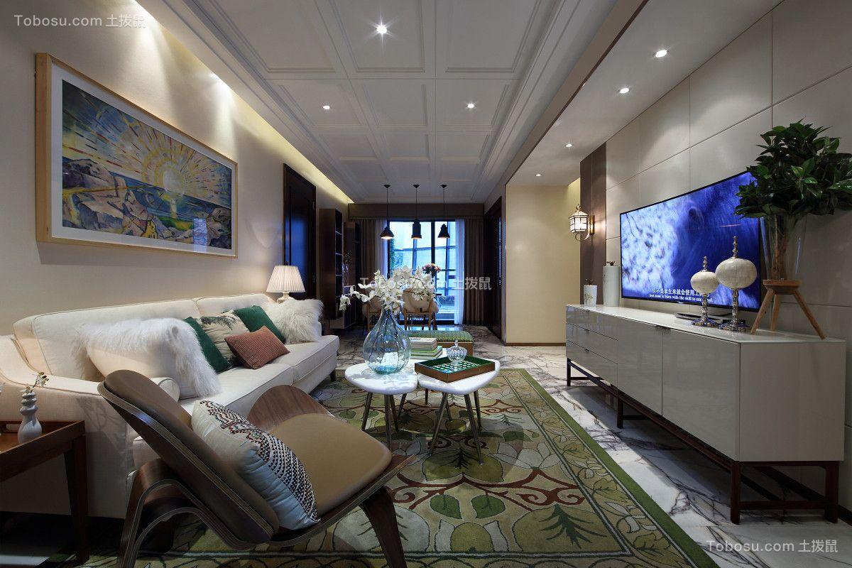 蓝光花满庭3期110平米三居室现代简约风格装修效果图