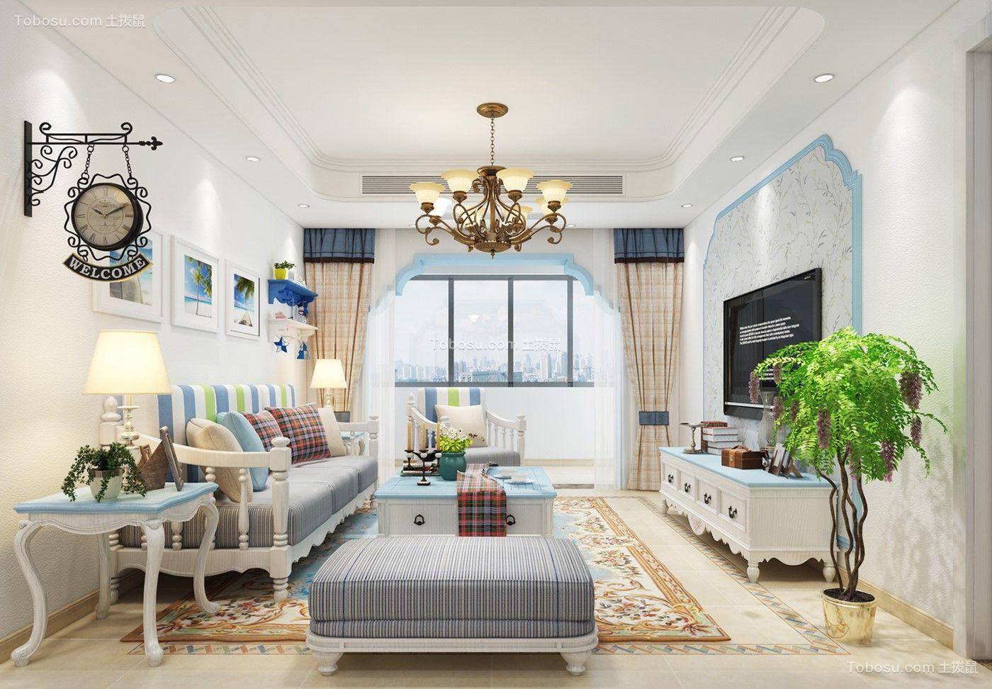 8万预算89平米三室两厅装修效果图