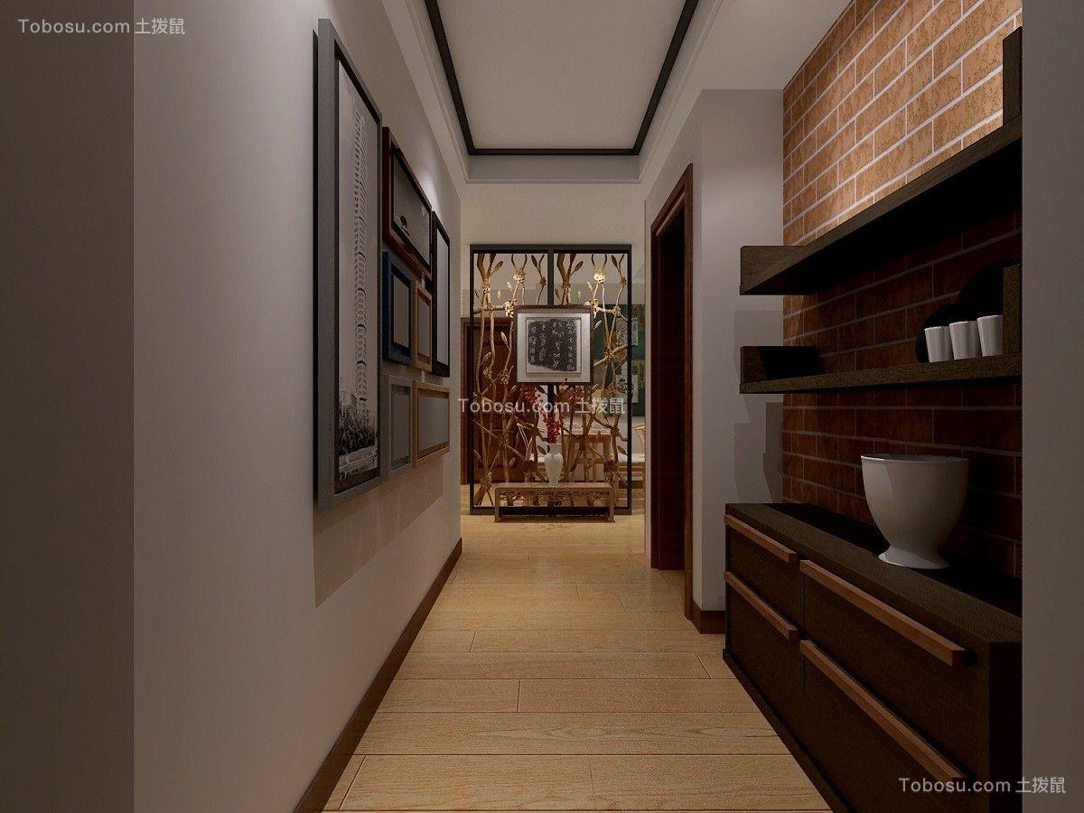 玄关白色鞋柜新中式风格装潢设计图片