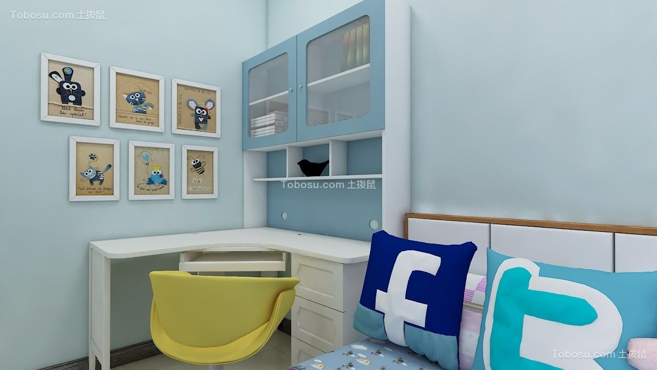 儿童房白色书桌现代简约风格装潢效果图