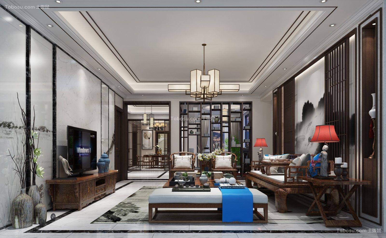 客厅咖啡色电视柜新中式风格装修图片