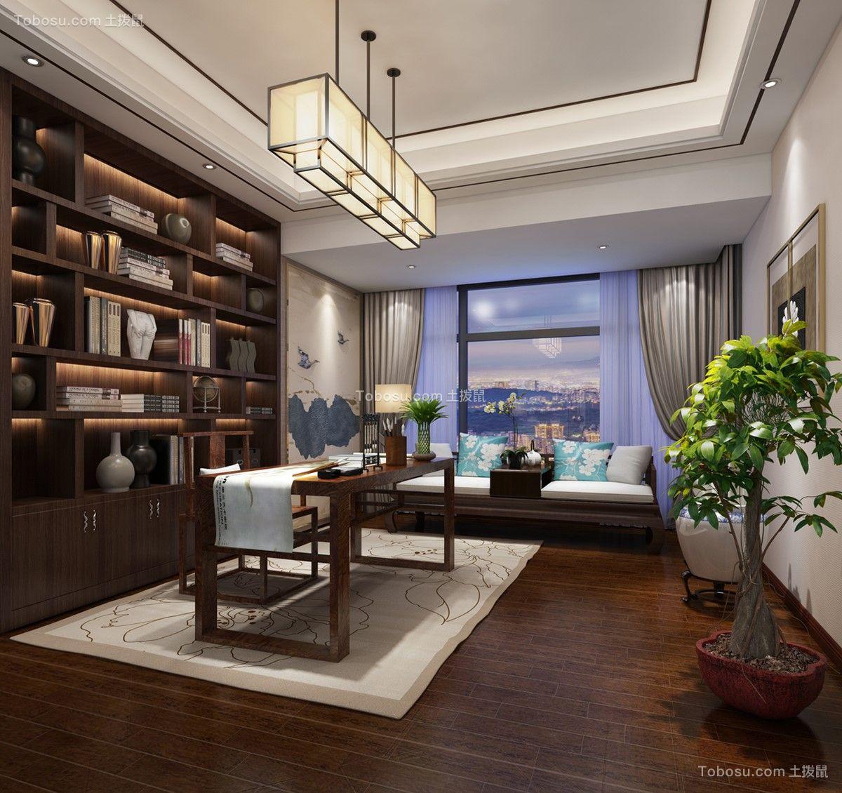 2018新中式书房装修设计 2018新中式书桌图片