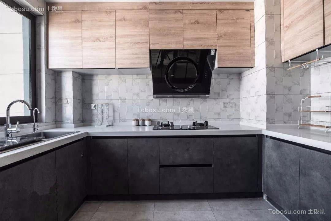 厨房黑色橱柜现代风格装修设计图片