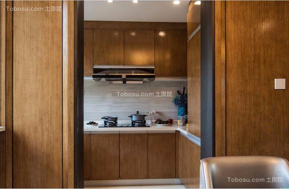 厨房咖啡色橱柜中式风格装修图片