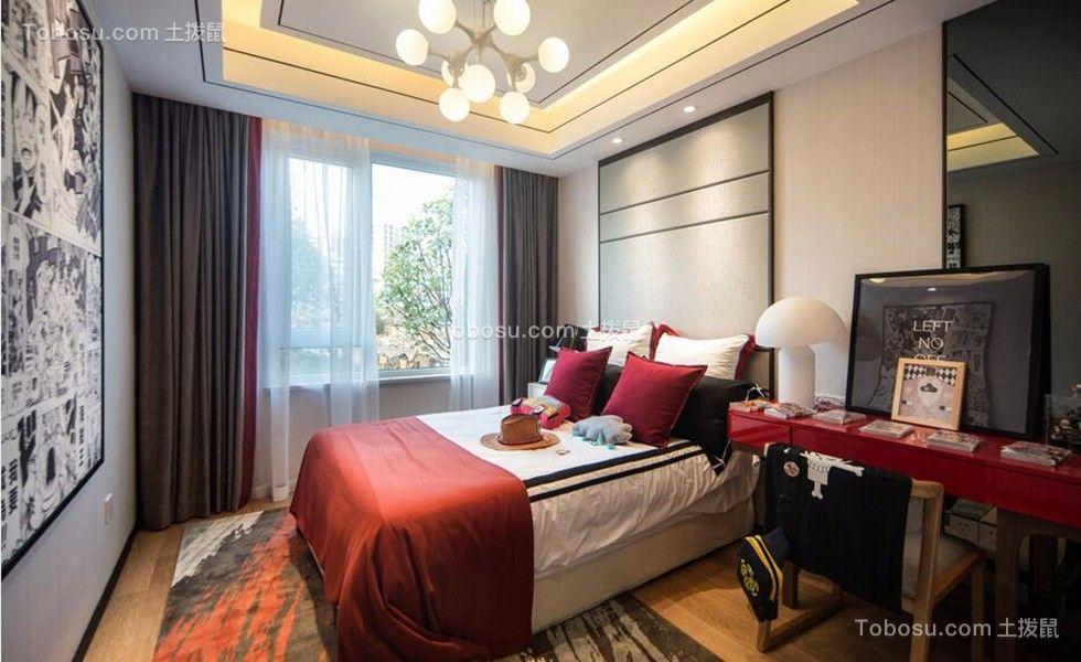 奢华大气红色卧室设计图欣赏