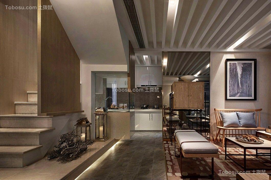客厅白色吊顶现代中式风格装修效果图