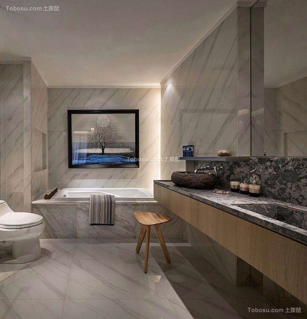 现代中式浴室洗漱台装饰图片