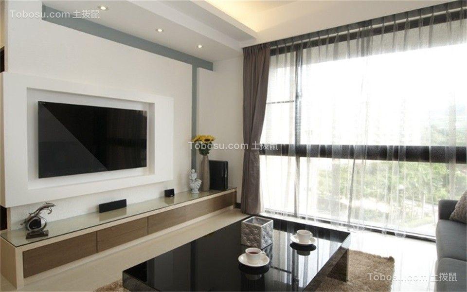 客厅咖啡色窗帘现代简约风格装潢设计图片