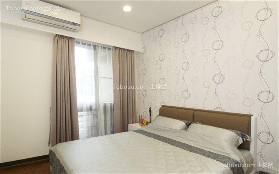卧室咖啡色窗帘现代简约风格装修图片