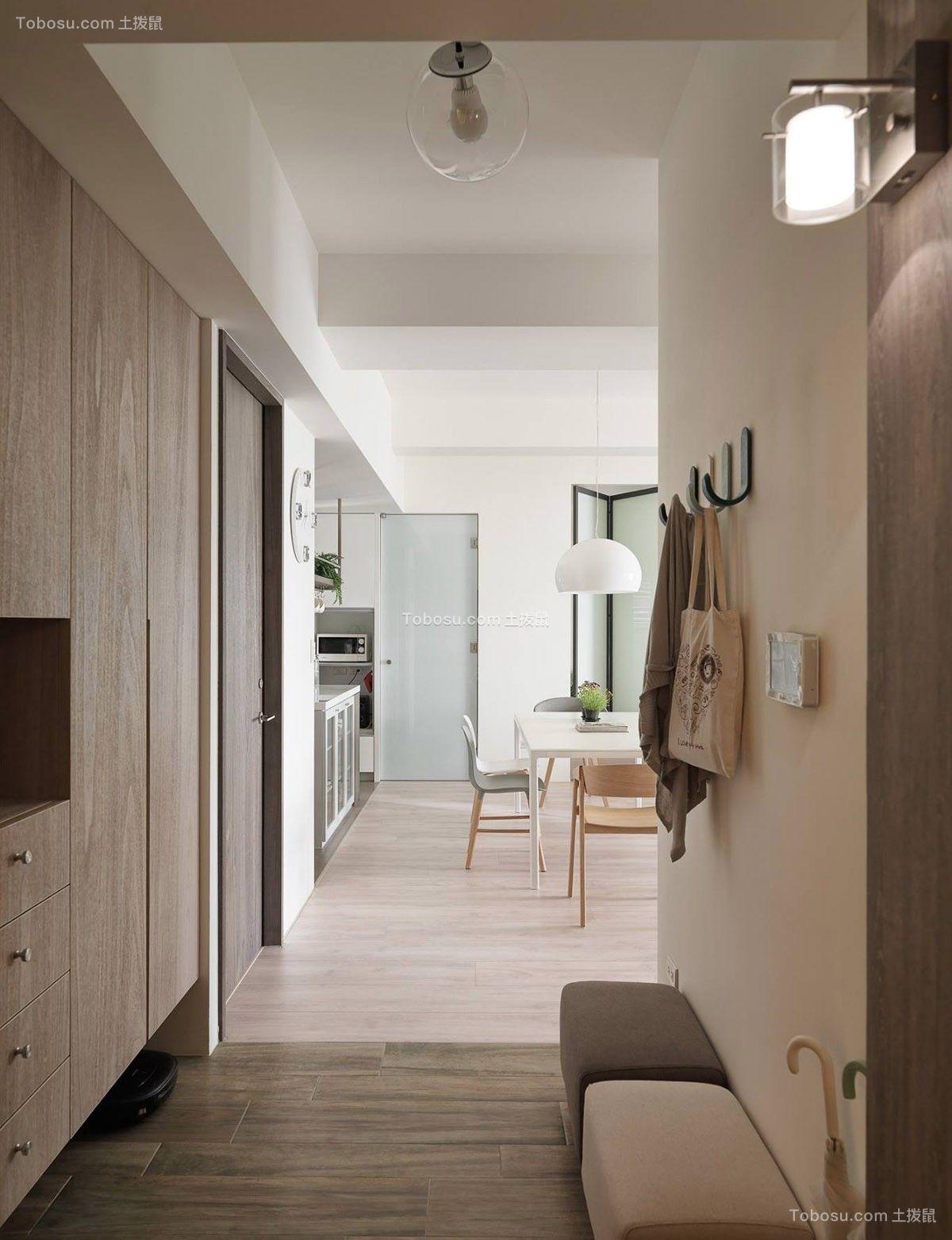 玄关咖啡色走廊北欧风格装修图片