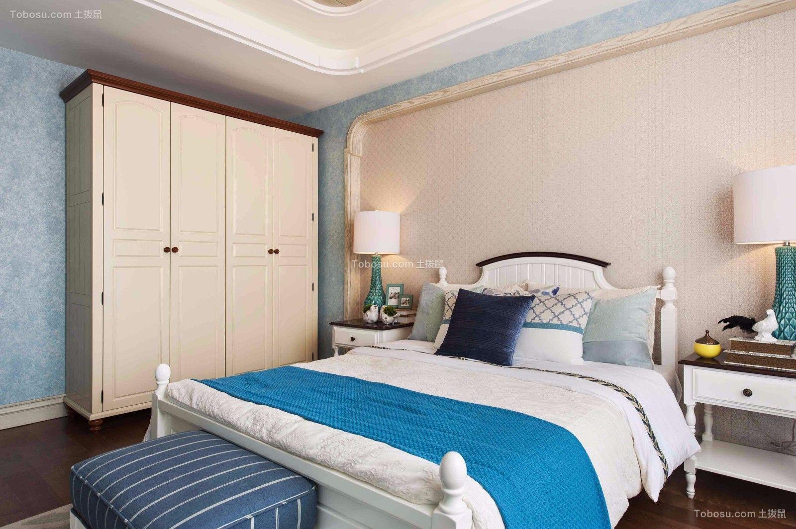 卧室白色床地中海风格装潢图片