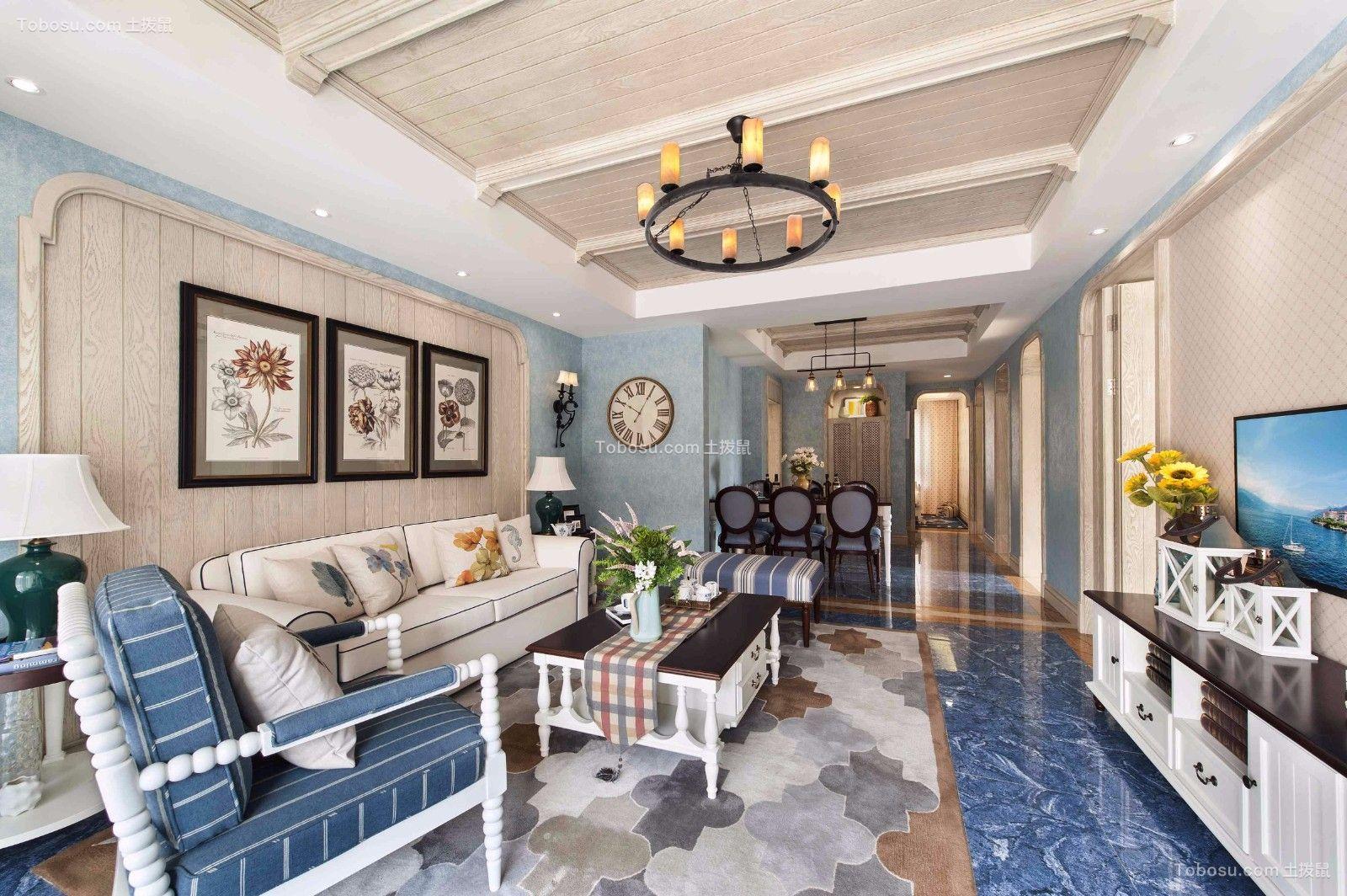美好白色客厅装潢实景图片