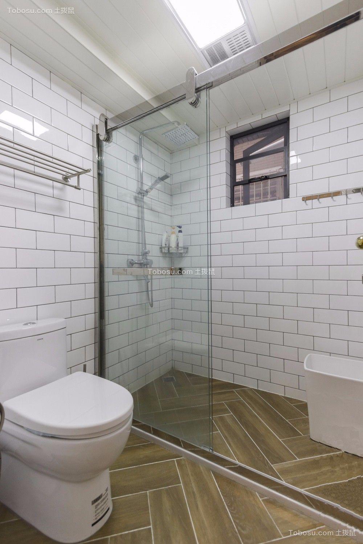 浴室咖啡色地砖美式风格装潢图片
