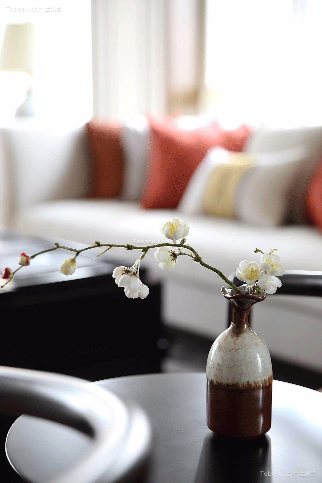 客厅黑色茶几现代中式风格装修设计图片