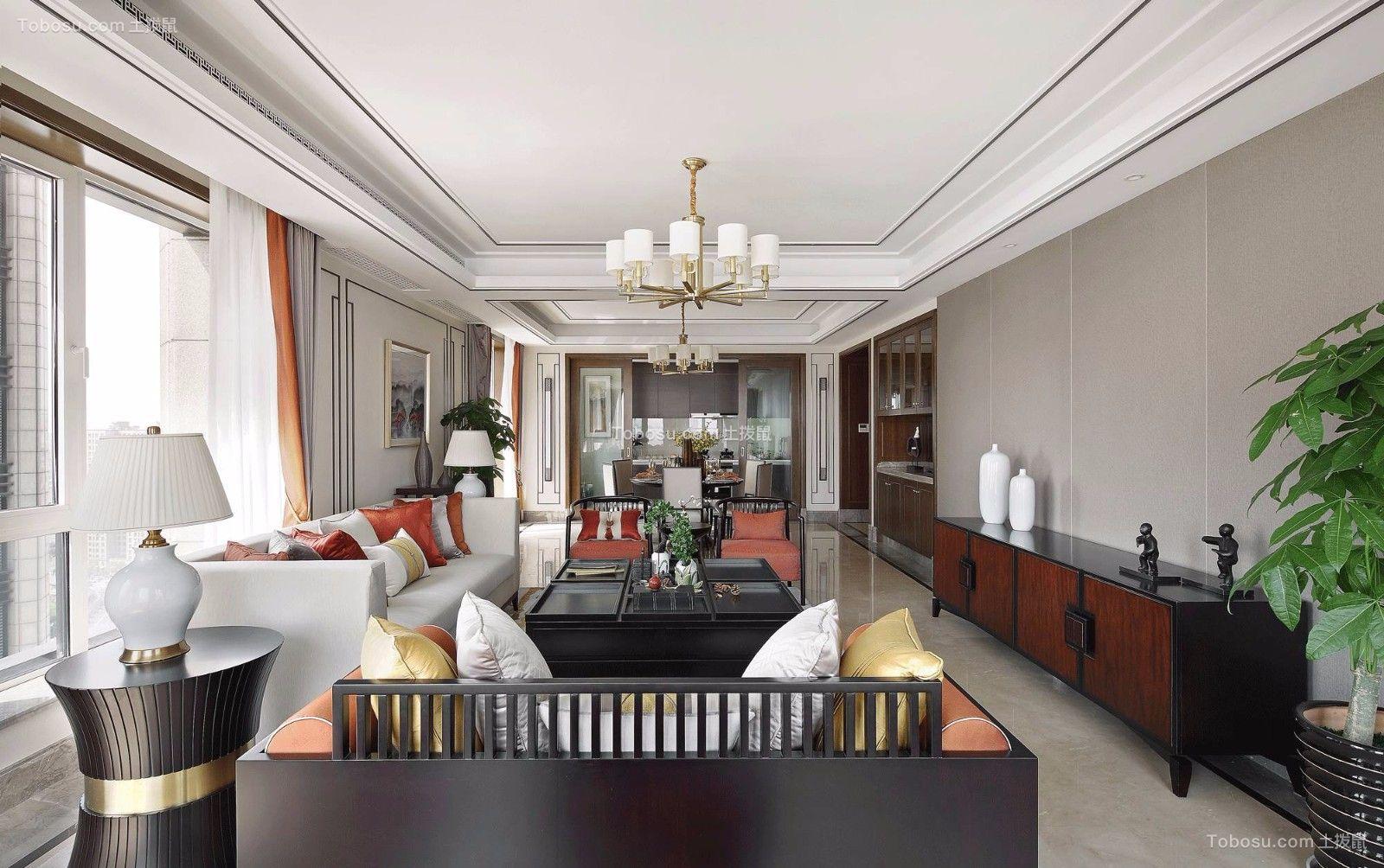 客厅黑色茶几现代中式风格装潢设计图片