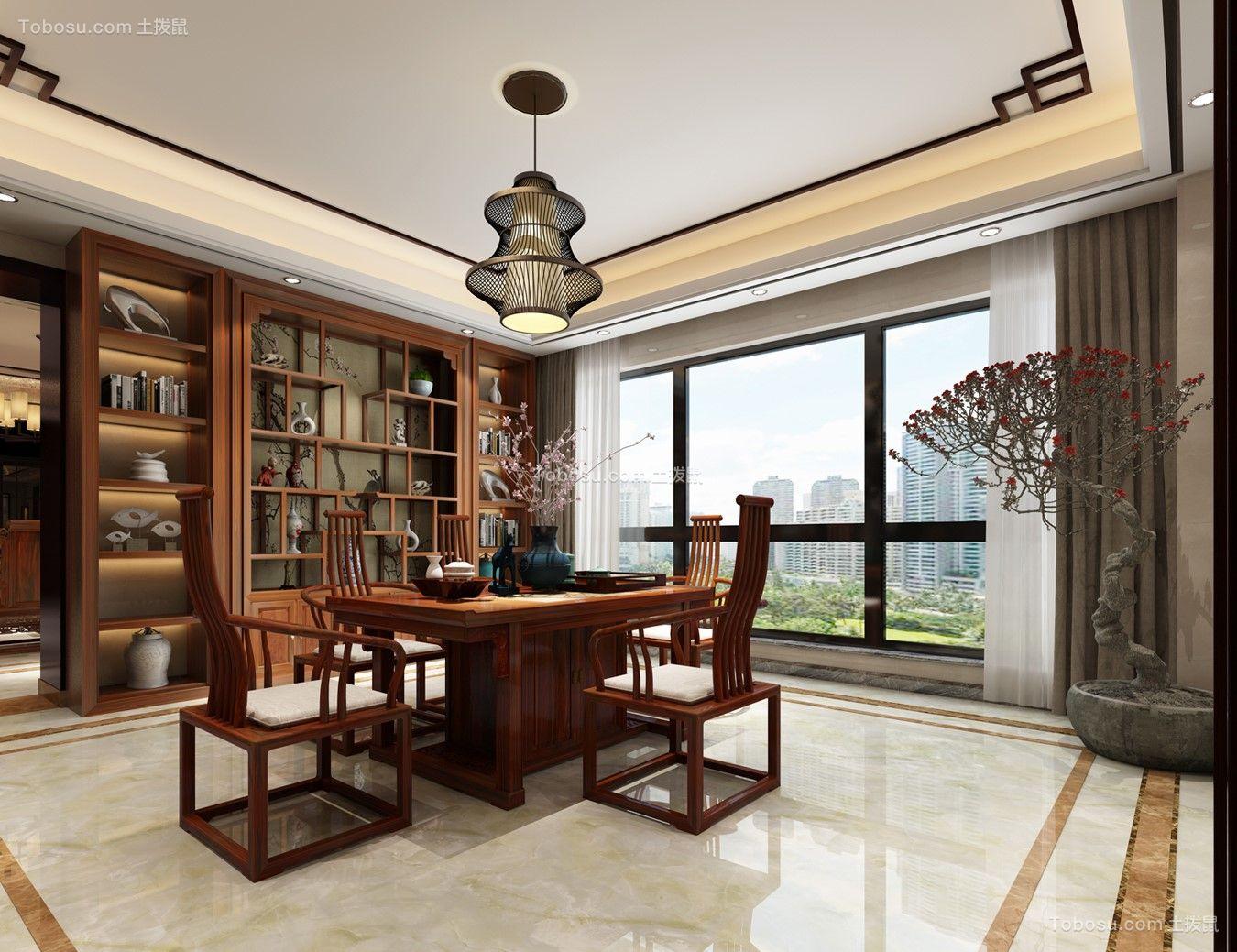 书房咖啡色博古架新中式风格装潢图片