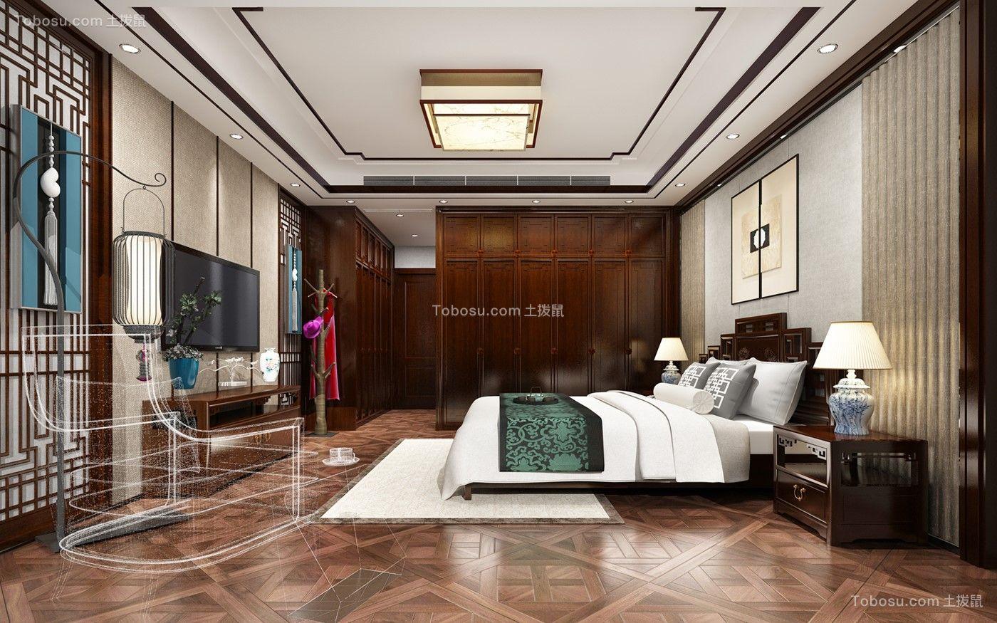 卧室咖啡色电视柜新中式风格装饰设计图片
