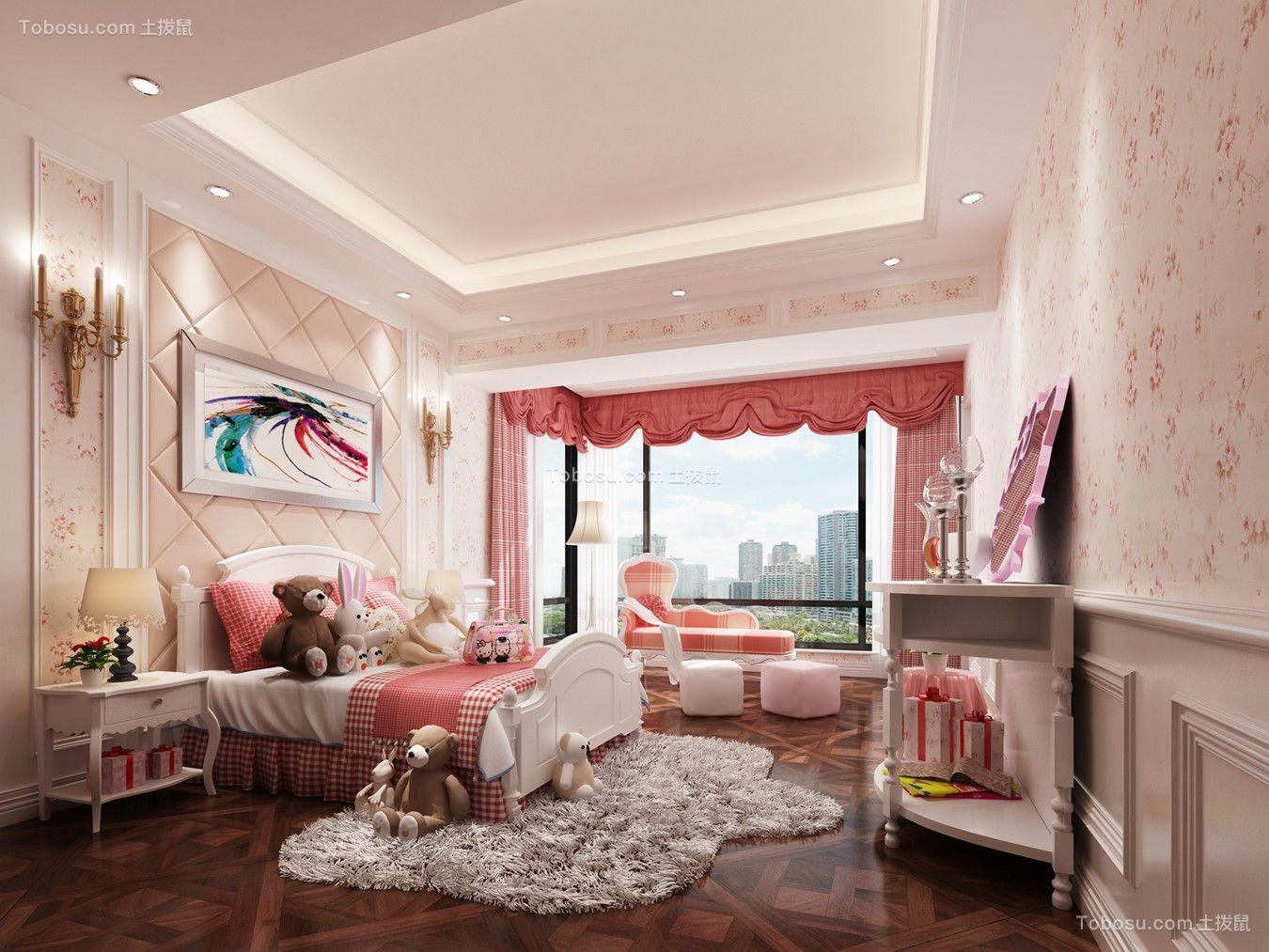 儿童房粉色窗帘新中式风格效果图