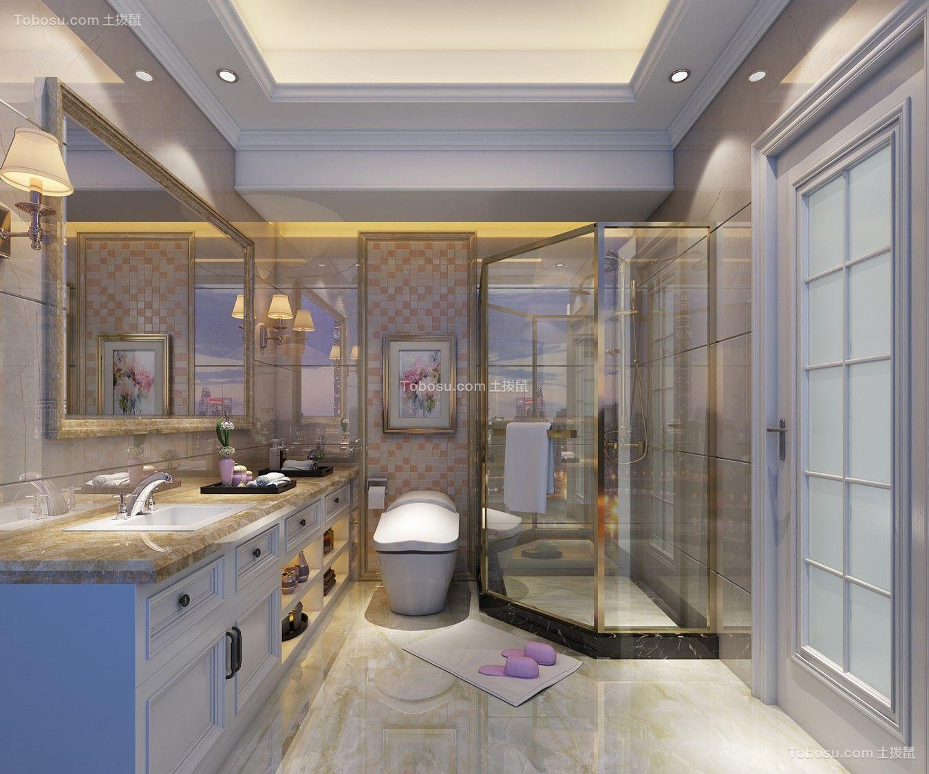 新中式卫生间洗漱台装修案例效果图