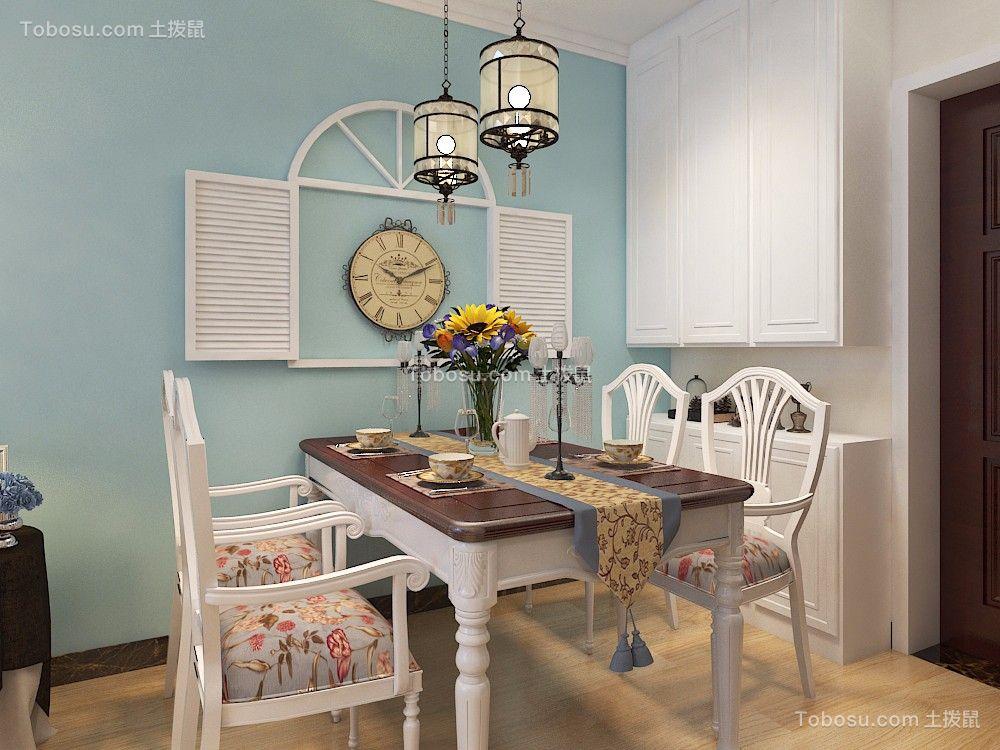 餐厅白色餐桌地中海风格装修设计图片