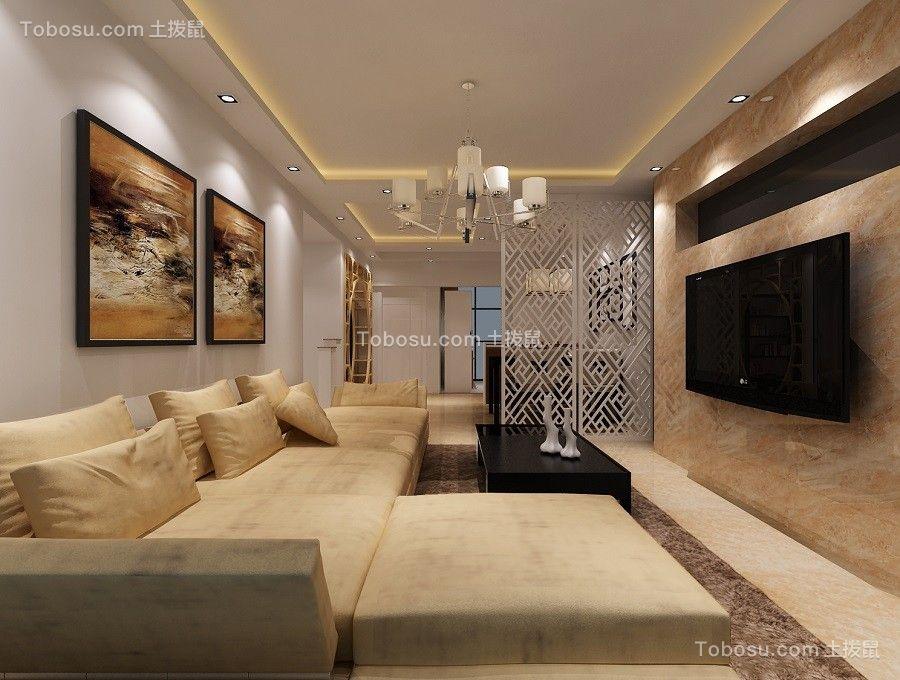 现代风格83平米套房室内装修效果图