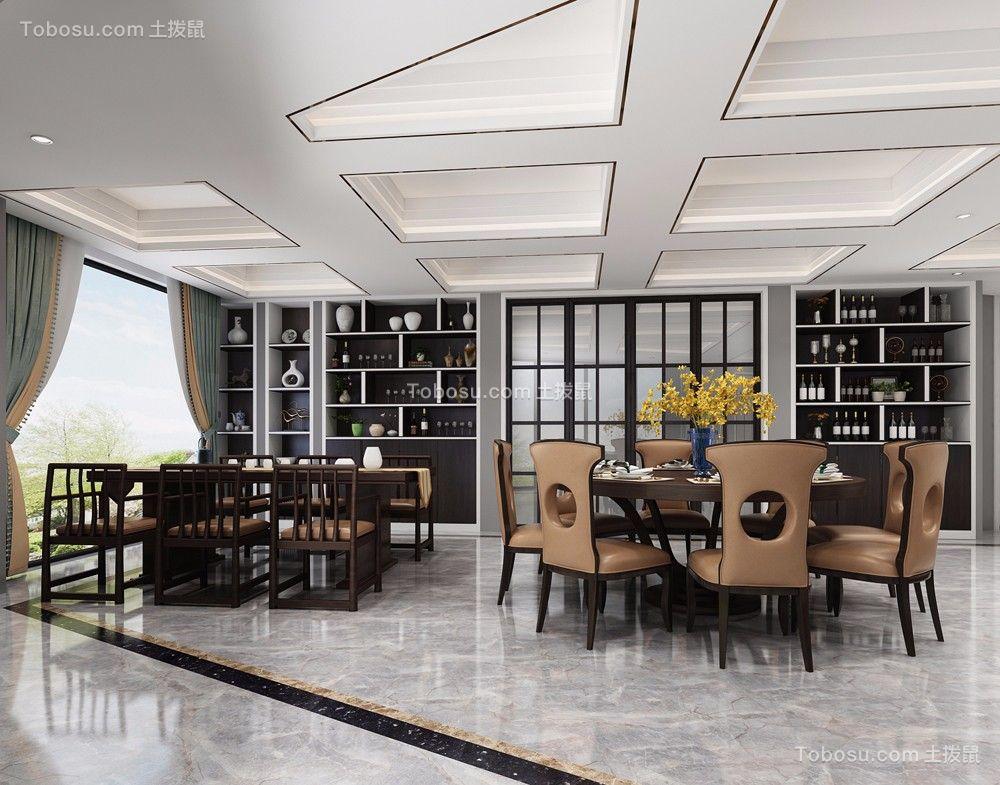 2020新中式餐厅效果图 2020新中式博古架装饰设计
