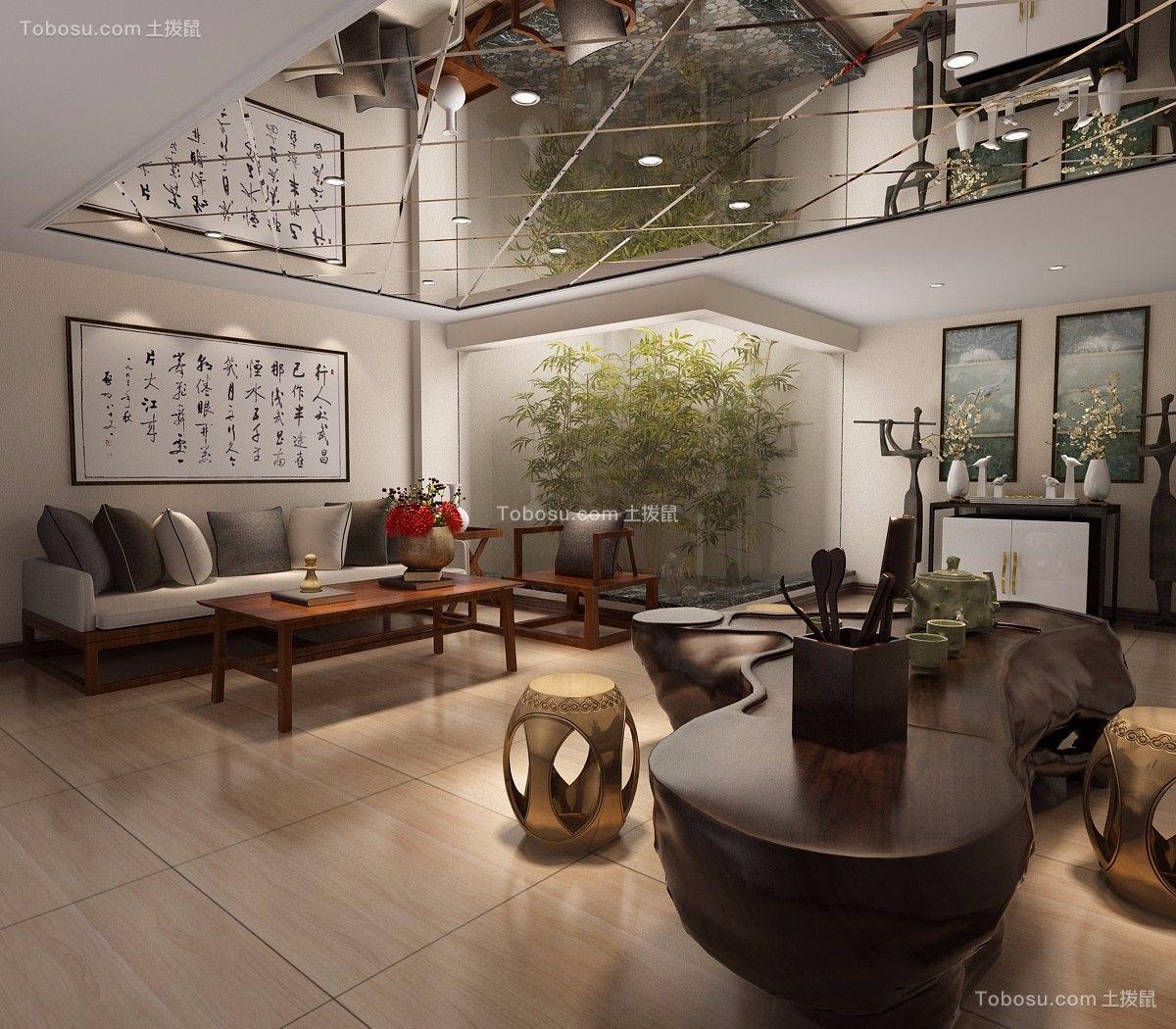 书房橙色地板砖新中式风格装修设计图片