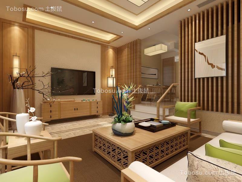 新中式风格300平米别墅室内装修效果图