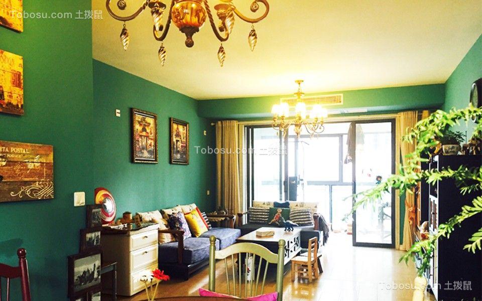 美式风格102平米三室两厅新房装修效果图