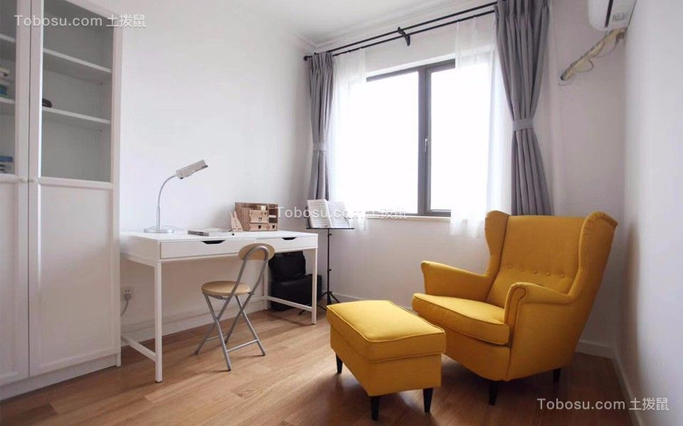 书房白色书桌现代简约风格装饰设计图片