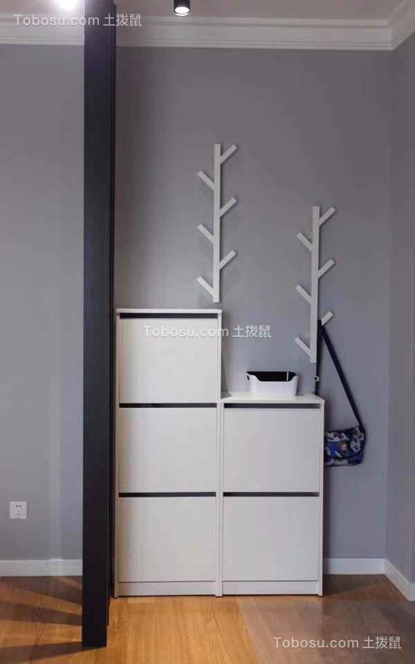 玄关白色鞋柜现代简约风格装潢设计图片