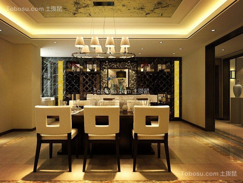餐厅咖啡色餐桌欧式风格装饰设计图片