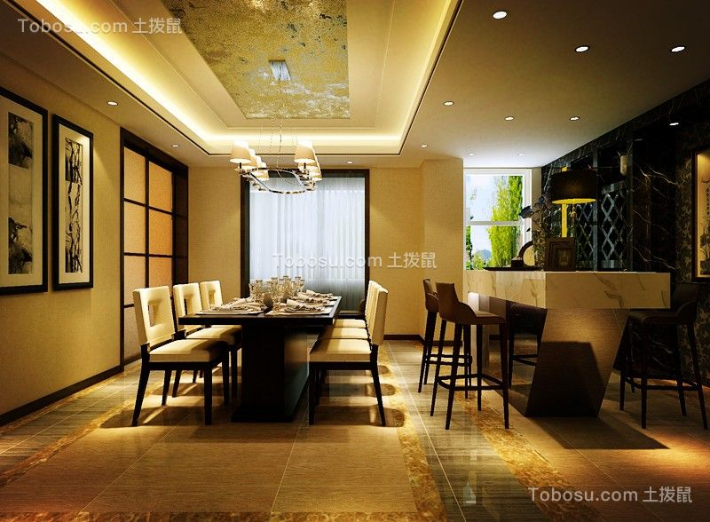 美观大方餐厅欧式装潢设计图片