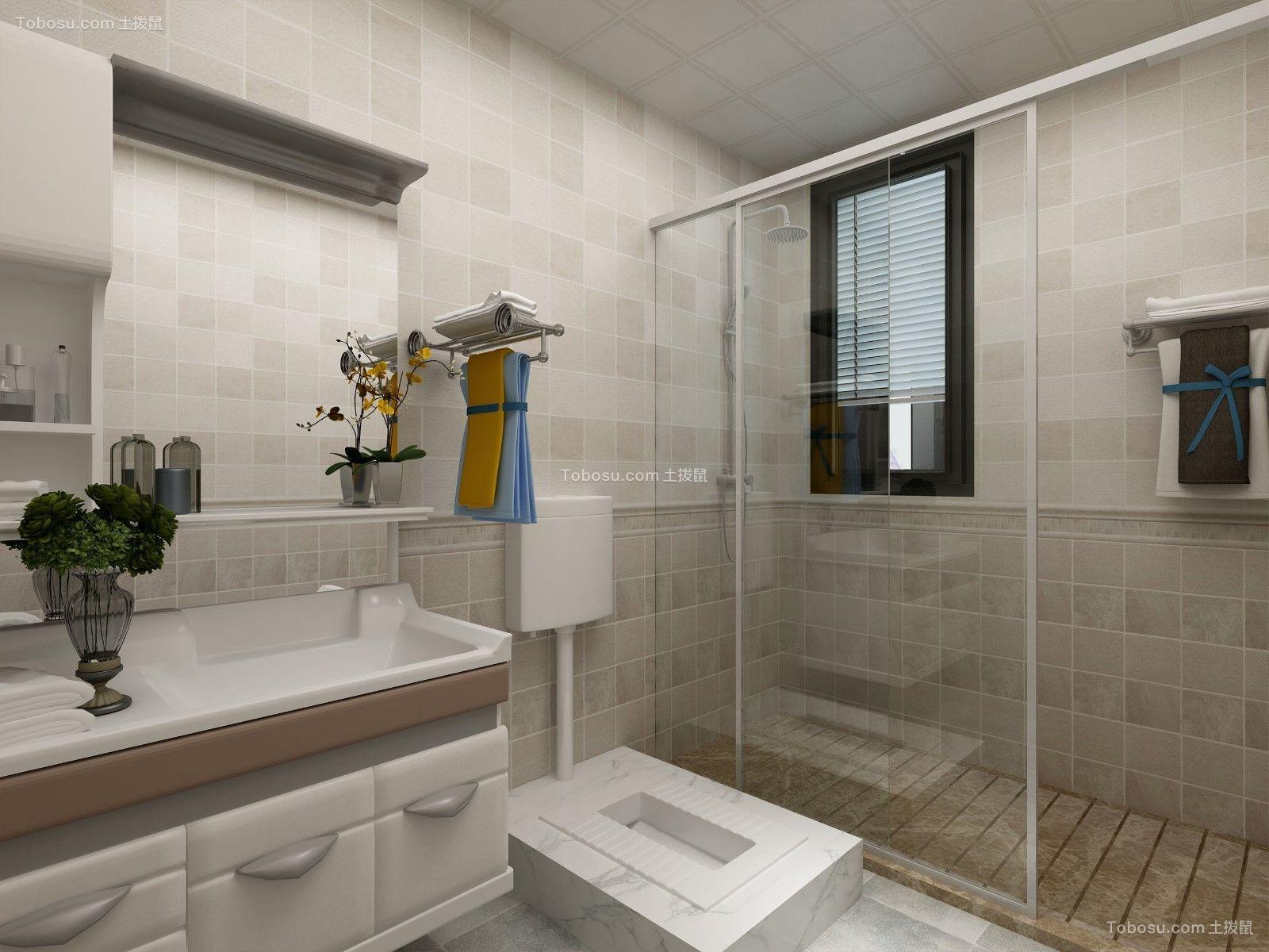 卫生间白色推拉门现代简约风格装修效果图