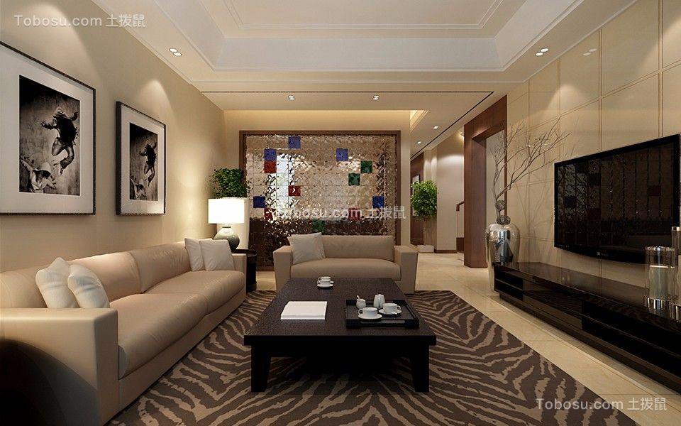 客厅黑色茶几现代风格装潢效果图