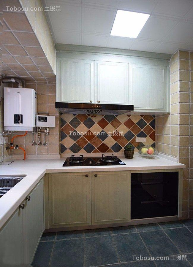 厨房米色吊顶美式风格装饰图片